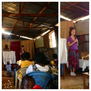 Kayla preaching on her last Sunday in Kenya